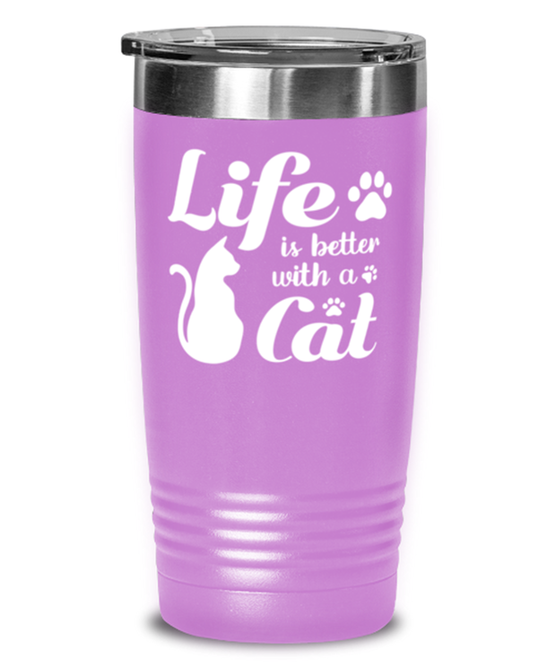 Life is Better with a Cat 20 oz Light Purple Drink Tumbler w/ Lid, Gift For Cat Lovers, Tumblers & Water Glasses Gift For Her, Birthday, Just Because, Present Ideas For Cat Lovers