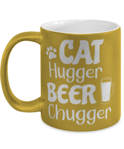 Cat Hugger Beer Chugger 11 oz Metallic Gold Mug, Gift For Cats And Beer Lovers, Novelty Coffee Mugs Gift For Her, Him, Birthday Present Ideas For Cats And Beer Lovers