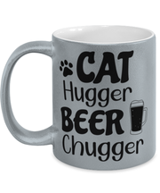Cat Hugger Beer Chugger 11 oz Metallic Silver Mug, Gift For Cats And Beer Lovers, Novelty Coffee Mugs Gift For Her, Him, Birthday Present Ideas For Cats And Beer Lovers