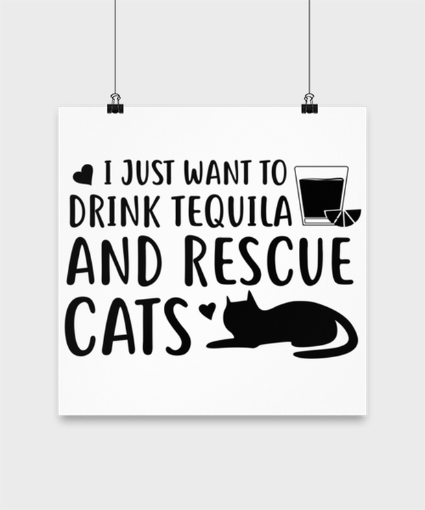 Want To Drink Tequila Rescue Cats High Gloss Poster 14 in x 14 in, Gift For Cats And Tequila Lovers, Posters & Prints Gift For Her, Birthday Present Ideas For Cats And Tequila Lovers