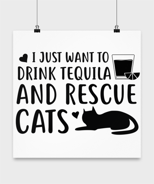 Want To Drink Tequila Rescue Cats High Gloss Poster 16 in x 16 in, Gift For Cats And Tequila Lovers, Posters & Prints Gift For Her, Birthday Present Ideas For Cats And Tequila Lovers