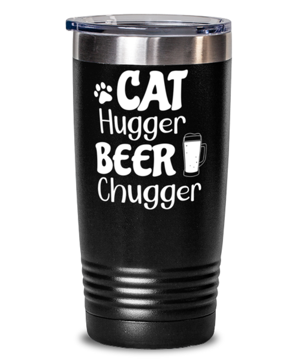 Cat Hugger Beer Chugger 20 oz Black Drink Tumbler w/ Lid, Gift For Cats And Beer Lovers, Tumblers & Water Glasses Gift For Her, Him, Birthday Present Ideas For Cats And Beer Lovers
