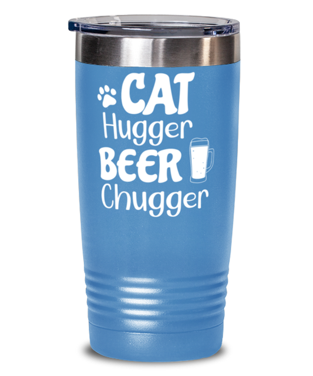 Cat Hugger Beer Chugger 20 oz Light Blue Drink Tumbler w/ Lid, Gift For Cats And Beer Lovers, Tumblers & Water Glasses Gift For Her, Him, Birthday Present Ideas For Cats And Beer Lovers