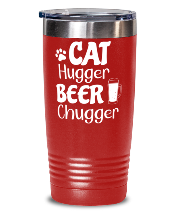 Cat Hugger Beer Chugger 20 oz Red Drink Tumbler w/ Lid, Gift For Cats And Beer Lovers, Tumblers & Water Glasses Gift For Her, Him, Birthday Present Ideas For Cats And Beer Lovers