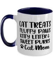 Cat Treats Fluffy Paws Kitty Litter & Sweet Purrs Cat Mom 11oz Navy Two Tone Coffee Mug, Gift For Cat Moms, Novelty Coffee Mugs Gift For Mom, Mother's Day Present Ideas For Cat Moms