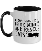 Just Want To Drink Wine Rescue Cats 11oz Black Two Tone Coffee Mug, Gift For Cats And Wine Lovers, Novelty Coffee Mugs Gift For Her, Birthday Present Ideas For Cats And Wine Lovers