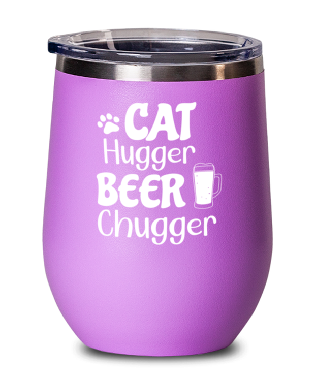 Cat Hugger Beer Chugger Pink Insulated Wine Tumbler w/ Lid, Gift For Cats And Beer Lovers, Wine Glasses Gift For Her, Him, Birthday Present Ideas For Cats And Beer Lovers