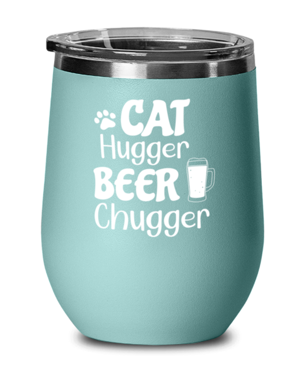 Cat Hugger Beer Chugger Teal Insulated Wine Tumbler w/ Lid, Gift For Cats And Beer Lovers, Wine Glasses Gift For Her, Him, Birthday Present Ideas For Cats And Beer Lovers
