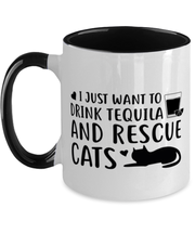 Want To Drink Tequila Rescue Cats 11oz Black Two Tone Coffee Mug, Gift For Cats And Tequila Lovers, Novelty Coffee Mugs Gift For Her, Birthday Present Ideas For Cats And Tequila Lovers