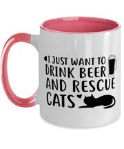 Just Want To Drink Beer Rescue Cats 11oz Pink Two Tone Coffee Mug, Gift For Cats And Beer Lovers, Novelty Coffee Mugs Gift For Him, Birthday Present Ideas For Cats And Beer Lovers