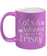 Cats Whiskey Got Me Frisky 11 oz Metallic Purple Mug, Gift For Cats And Whiskey Lovers, Novelty Coffee Mugs Gift For Dad,, Father's Day Present Ideas For Cats And Whiskey Lovers