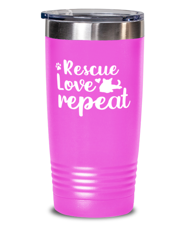 Rescue Love Repeat 20 oz Pink Drink Tumbler w/ Lid, Gift For Cat Rescuers, Tumblers & Water Glasses Gift For Mom, Mother, Grandmother, Birthday, Just Because, Present Ideas For Cat Rescuers