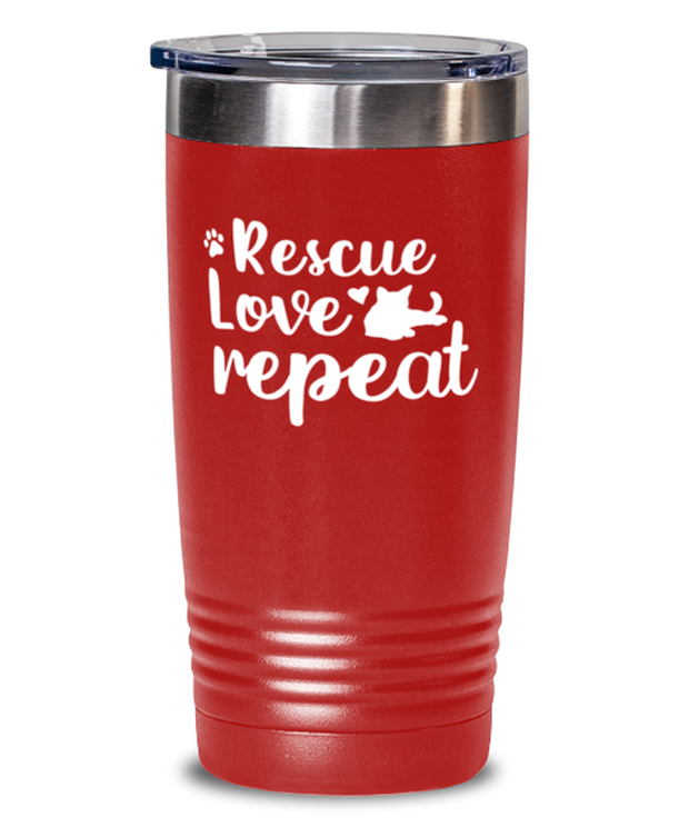 Rescue Love Repeat 20 oz Red Drink Tumbler w/ Lid, Gift For Cat Rescuers, Tumblers & Water Glasses Gift For Mom, Mother, Grandmother, Birthday, Just Because, Present Ideas For Cat Rescuers