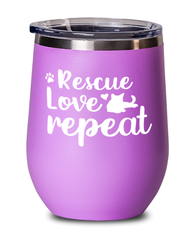 Rescue Love Repeat Pink Insulated Wine Tumbler w/ Lid, Gift For Cat Rescuers, Wine Glasses Gift For Mom, Mother, Grandmother, Birthday, Just Because, Present Ideas For Cat Rescuers