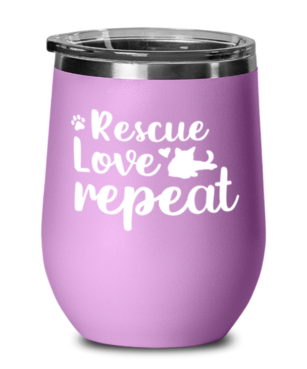 Rescue Love Repeat Light Purple Wine Tumbler w/ Lid, Gift For Cat Rescuers, Wine Glasses Gift For Mom, Mother, Grandmother, Birthday, Just Because, Present Ideas For Cat Rescuers