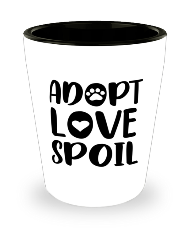 Adopt Love Spoil 1.5 oz Ceramic Shot Glass, Gift For Cat Adopters , Shot Glasses Gift For Mom, Mother, Grandmother, Birthday, Just Because, Present Ideas For Cat Adopters