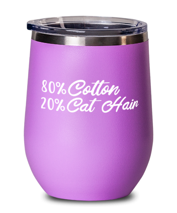 80% Cotton 20% Cat Hair Pink Insulated Wine Tumbler w/ Lid, Gift For Cat Lovers, Wine Glasses Gift For Mom, Mother, Grandmother, Birthday, Just Because Present Ideas For Cat Lovers