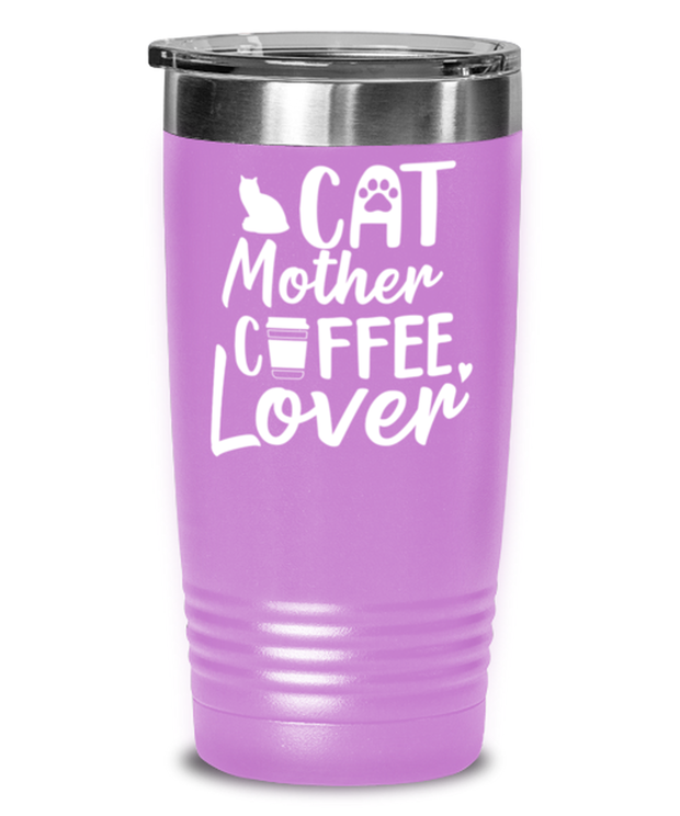 Cat Mother Coffee Lover 20 oz Light Purple Drink Tumbler w/ Lid, Gift For Cat And Coffee Lovers, Tumblers & Water Glasses Gift For Her, Mother's Day Present Ideas For Cat And Coffee Lovers
