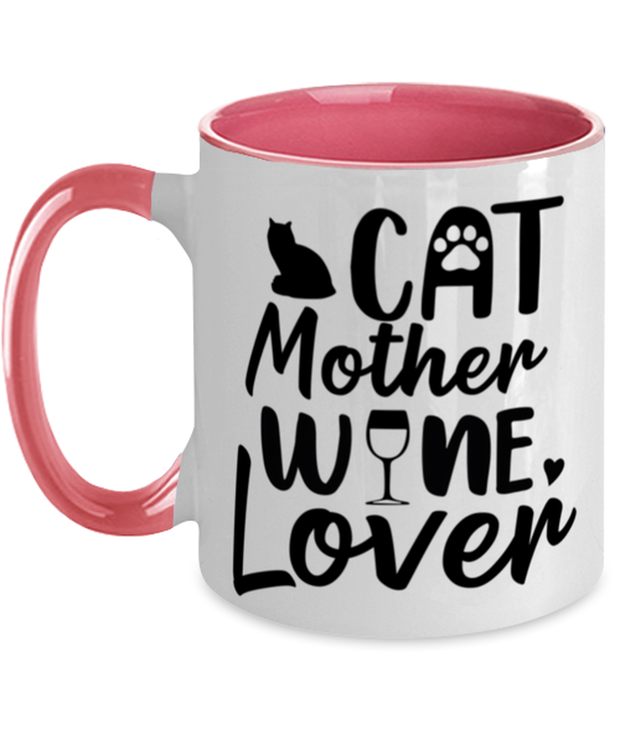 Cat Mother Wine Lover 11oz Pink Two Tone Coffee Mug, Gift For Cat And Wine Lovers, Novelty Coffee Mugs Gift For Her, Mother's Day Present Ideas For Cat And Wine Lovers