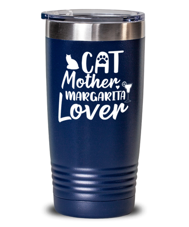 Cat Mother Margarita Lover 20 oz Blue Drink Tumbler w/ Lid, Gift For Cat And Margarita Lovers, Tumblers & Water Glasses Gift For Her, Mother's Day Present Ideas For Cat And Margarita Lovers