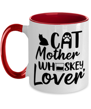 Cat Mother Whiskey Lover 11oz Red Two Tone Coffee Mug, Gift For Cat And Whiskey Lovers, Novelty Coffee Mugs Gift For Her, Mother's Day Present Ideas For Cat And Whiskey Lovers