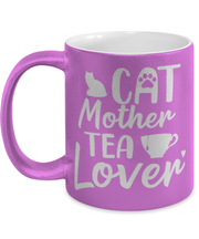 Cat Mother Tea Lover 11 oz Metallic Purple Mug, Gift For Cat And Tea Lovers, Novelty Coffee Mugs Gift For Mom, Aunt, Mother's Day, Birthday Present Ideas For Cat And Tea Lovers
