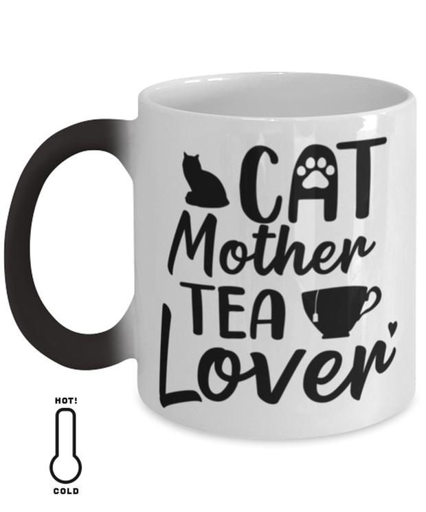 Cat Mother Tea Lover Color Changing Coffee Mug, Gift For Cat And Tea Lovers, Novelty Coffee Mugs Gift For Mom, Aunt, Mother's Day, Birthday Present Ideas For Cat And Tea Lovers