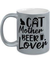 Cat Mother Beer Lover 11 oz Metallic Silver Mug, Gift For Cat And Beer Lovers, Novelty Coffee Mugs Gift For Mom, Aunt, Mother's Day, Birthday Present Ideas For Cat And Beer Lovers