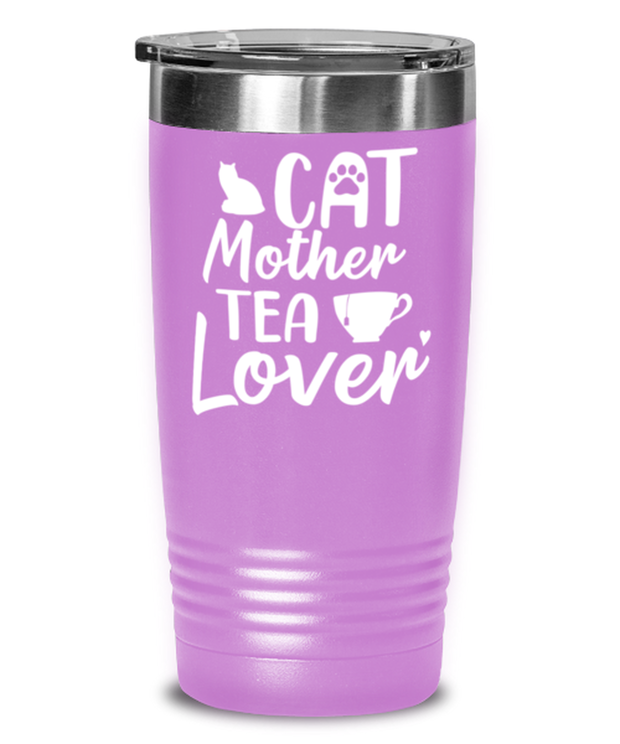 Cat Mother Tea Lover 20 oz Light Purple Drink Tumbler w/ Lid, Gift For Cat And Tea Lovers, Tumblers & Water Glasses Gift For Mom, Aunt, Mother's Day, Birthday Present Ideas For Cat And Tea Lovers