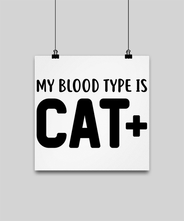 My Blood Type Is CAT Plus High Gloss Poster 12 in x 12 in, Gift For Cat Lovers, Posters & Prints Gift For Her, Sister, Friend, Birthday, Just Because Present Ideas For Cat Lovers