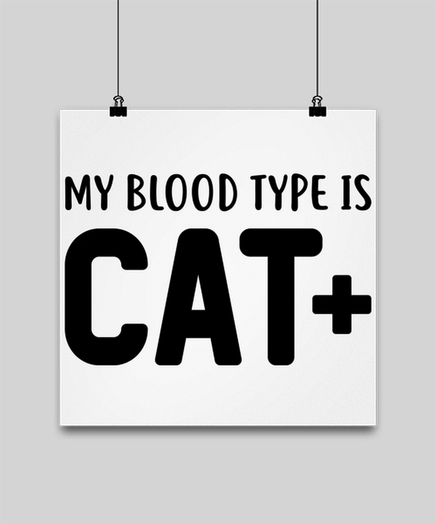 My Blood Type Is CAT Plus High Gloss Poster 14 in x 14 in, Gift For Cat Lovers, Posters & Prints Gift For Her, Sister, Friend, Birthday, Just Because Present Ideas For Cat Lovers