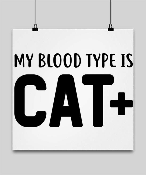 My Blood Type Is CAT Plus High Gloss Poster 16 in x 16 in, Gift For Cat Lovers, Posters & Prints Gift For Her, Sister, Friend, Birthday, Just Because Present Ideas For Cat Lovers