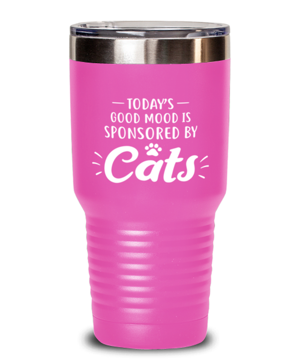 Today's Good Mood Sponsored By Cats 30 oz Pink Drink Tumbler w/ Lid, Gift For Cat Lovers, Tumblers & Water Glasses Gift For Her, Birthday, Just Because Present Ideas For Cat Lovers