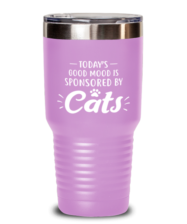 Today's Good Mood Sponsored By Cats 30 oz Light Purple Drink Tumbler w/ Lid, Gift For Cat Lovers, Tumblers & Water Glasses Gift For Her, Birthday, Just Because Present Ideas For Cat Lovers