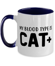 My Blood Type Is CAT Plus 11oz Navy Two Tone Coffee Mug, Gift For Cat Lovers, Novelty Coffee Mugs Gift For Her, Sister, Friend, Birthday, Just Because Present Ideas For Cat Lovers
