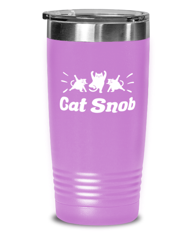 Cat Snob 20 oz Light Purple Drink Tumbler w/ Lid, Gift For Cat Lovers, Tumblers & Water Glasses Gift For Mom, Mother, Sister, Daughter, Birthday, Just Because Present Ideas For Cat Lovers