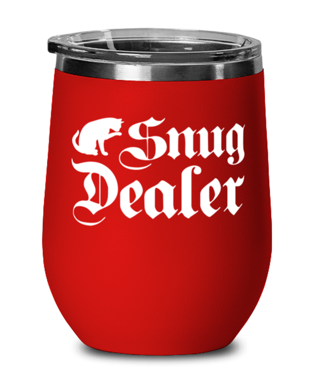 Snug Dealer Red Insulated Wine Tumbler w/ Lid, Gift For Cat Lovers, Wine Glasses Gift For Her, Him, Sister, Brother, Friend, Birthday, Just Because Present Ideas For Cat Lovers