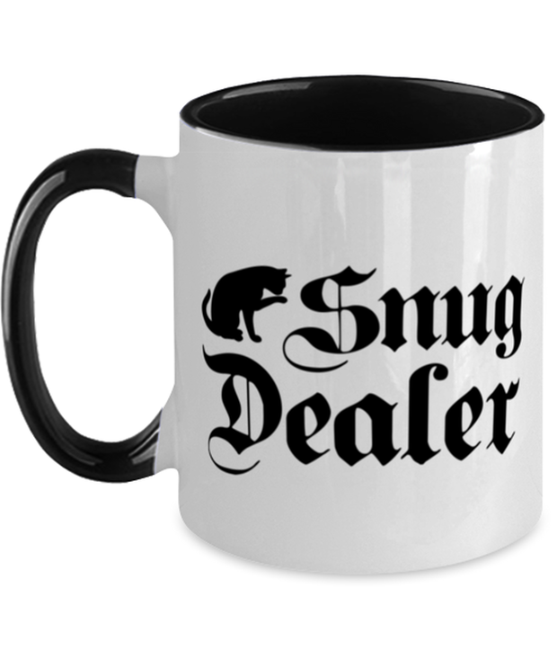 Snug Dealer 11oz Black Two Tone Coffee Mug, Gift For Cat Lovers, Novelty Coffee Mugs Gift For Her, Him, Sister, Brother, Friend, Birthday, Just Because Present Ideas For Cat Lovers