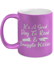 It's A Good Day To Read & Snuggle Kitties 11 oz Metallic Purple Mug, Gift For Cat And Book Lovers, Novelty Coffee Mugs Gift For Her, Birthday Present Ideas For Cat And Book Lovers