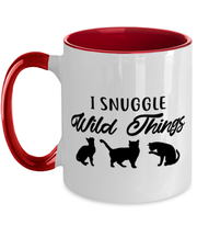 I Snuggle Wild Things 11oz Red Two Tone Coffee Mug, Gift For Cat Lovers, Novelty Coffee Mugs Gift For Mom, Sister, Daughter, Birthday, Just Because Present Ideas For Cat Lovers