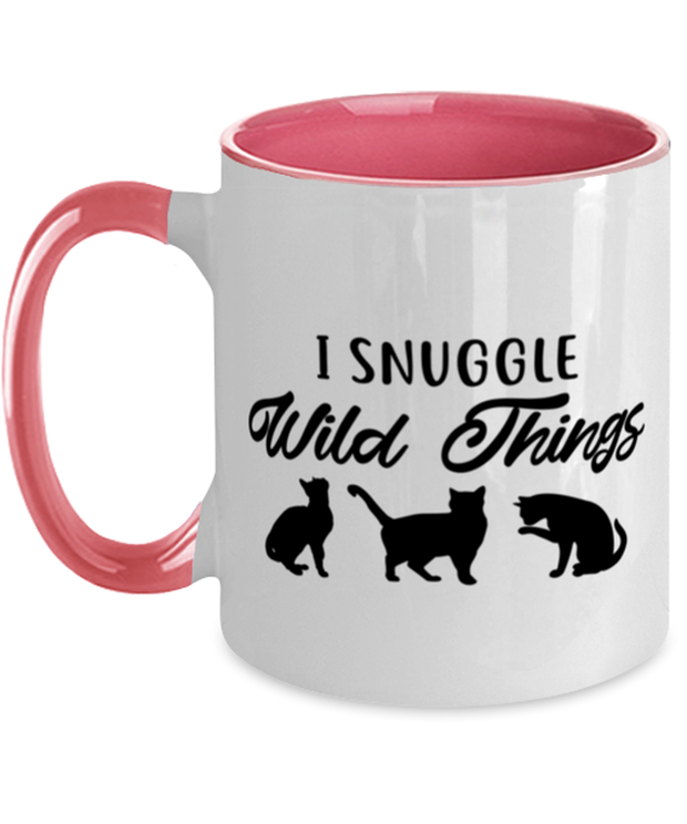 I Snuggle Wild Things 11oz Pink Two Tone Coffee Mug, Gift For Cat Lovers, Novelty Coffee Mugs Gift For Mom, Sister, Daughter, Birthday, Just Because Present Ideas For Cat Lovers