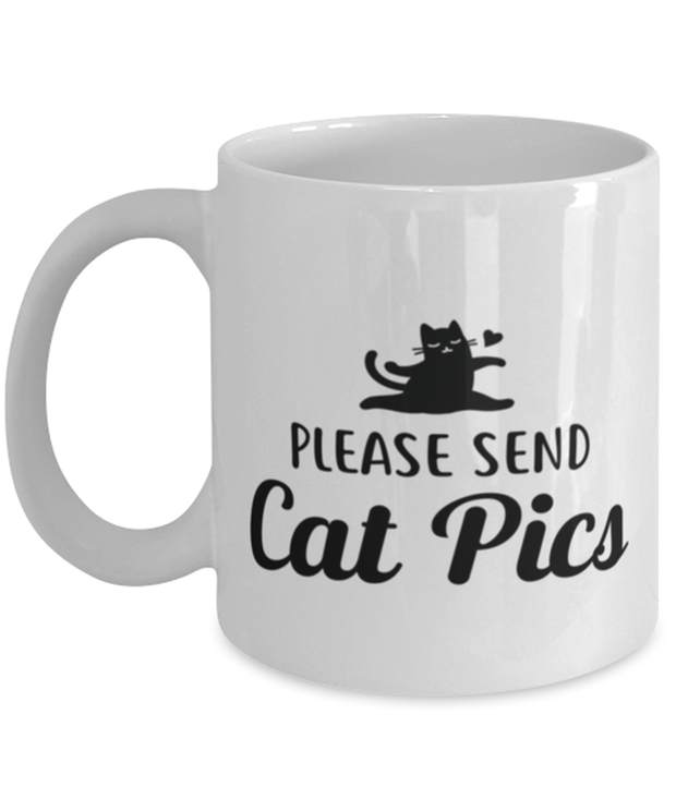 Please Send Cat Pics 11 oz White Coffee Mug, Gift For Cat Lovers, Novelty Coffee Mugs Gift For Friend, Sister, Daughter, Birthday, Just Because Present Ideas For Cat Lovers