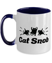 Cat Snob 11oz Navy Two Tone Coffee Mug, Gift For Cat Lovers, Novelty Coffee Mugs Gift For Mom, Mother, Sister, Daughter, Birthday, Just Because Present Ideas For Cat Lovers