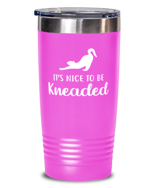 It's Nice To Be Kneaded 20 oz Pink Drink Tumbler w/ Lid, Gift For Cat Lovers, Tumblers & Water Glasses Gift For Her, Him, Birthday, Just Because Present Ideas For Cat Lovers