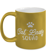 Cat Lady Squad 11 oz Metallic Gold Mug, Gift For Cat Ladies, Novelty Coffee Mugs Gift For Daughters, Sisters, Friends, Birthday, Just Because Present Ideas For Cat Ladies