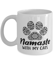 Namaste Home With My Cats 11 oz White Coffee Mug, Gift For Cat And Yoga Lovers, Novelty Coffee Mugs Gift For Her, Birthday, Just Because Present Ideas For Cat And Yoga Lovers