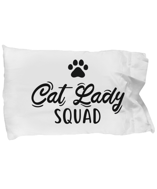 Cat Lady Squad Standard Size Pillow Case 20 in x 30 in, Gift For Cat Ladies, Bed Pillow Pillowcases Gift For Daughters, Sisters, Friends, Birthday, Just Because Present Ideas For Cat Ladies