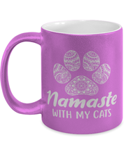 Namaste Home With My Cats 11 oz Metallic Purple Mug, Gift For Cat And Yoga Lovers, Novelty Coffee Mugs Gift For Her, Birthday, Just Because Present Ideas For Cat And Yoga Lovers