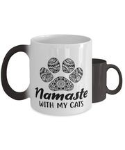 Namaste Home With My Cats Color Changing Coffee Mug, Gift For Cat And Yoga Lovers, Novelty Coffee Mugs Gift For Her, Birthday, Just Because Present Ideas For Cat And Yoga Lovers