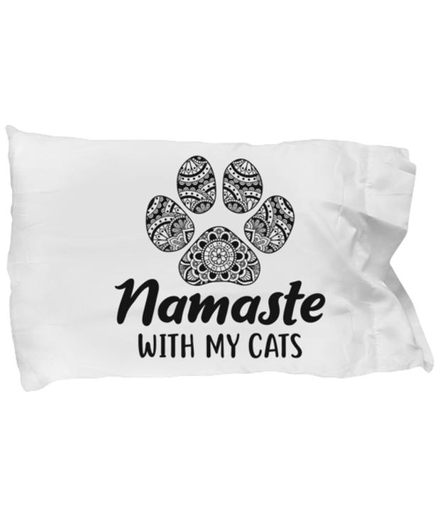 Namaste Home With My Cats Standard Size Pillow Case 20 in x 30 in, Gift For Cat And Yoga Lovers, Bed Pillow Pillowcases Gift For Her, Birthday, Just Because Present Ideas For Cat And Yoga Lovers